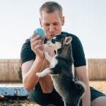 Trainer and puppy playing with a ball